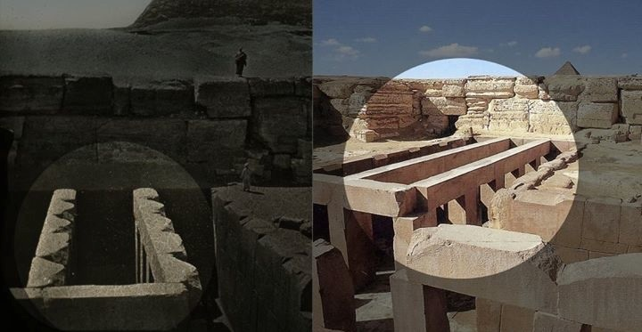 The valley temple before and after shots, clearly showing the damage of Egyptology.